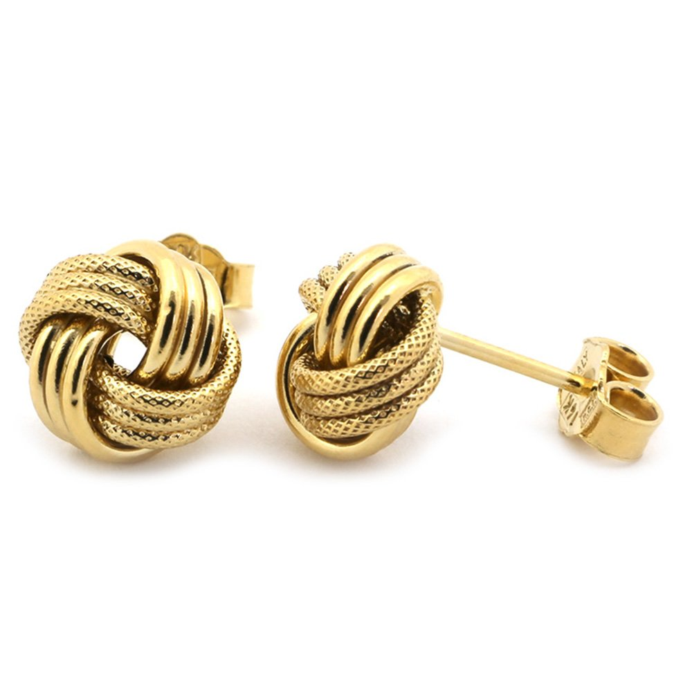 10k Yellow Gold 9mm Textured Love Knot Stud Earrings