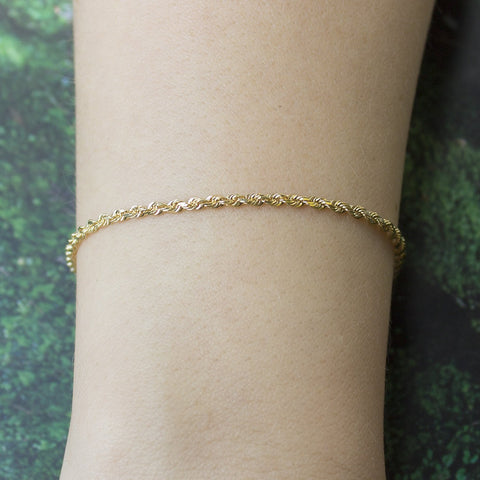 14k Yellow Gold 2.5mm Solid Diamond-Cut Royal Rope Bracelet, 7""