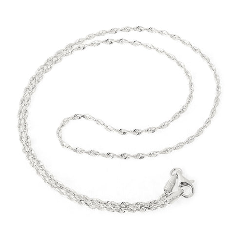 Beauniq 14k White Gold 2.0mm Solid Diamond-Cut Royal Rope Chain Necklace, 30""