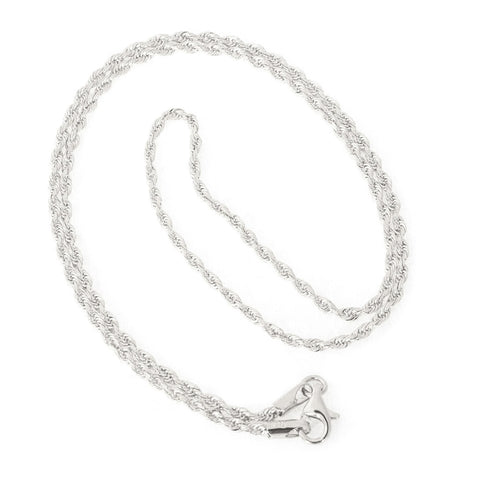 Beauniq 14k White Gold 2.25mm Solid Diamond-Cut Royal Rope Chain Necklace, 22""