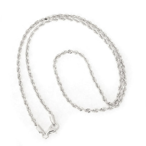 Beauniq 14k White Gold 2.5mm Solid Diamond-Cut Royal Rope Chain Necklace, 24""
