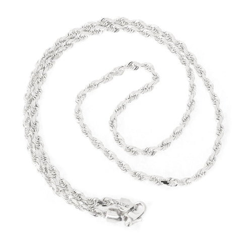 Beauniq 14k White Gold 3.0mm Solid Diamond-Cut Royal Rope Chain Necklace, 20""