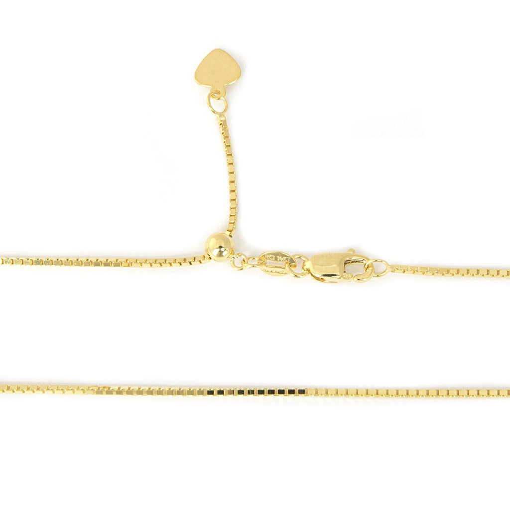 Solid 14k Yellow or White Gold 1mm Adjustable Box Chain Necklace, up to 22""