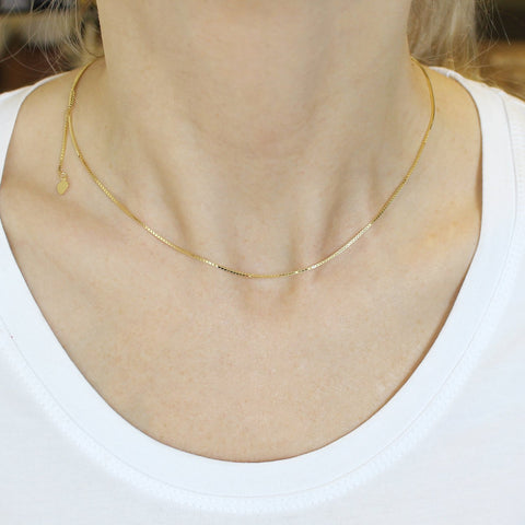 Solid 14k Yellow Gold 1mm Adjustable Box Chain Necklace, up to 22""