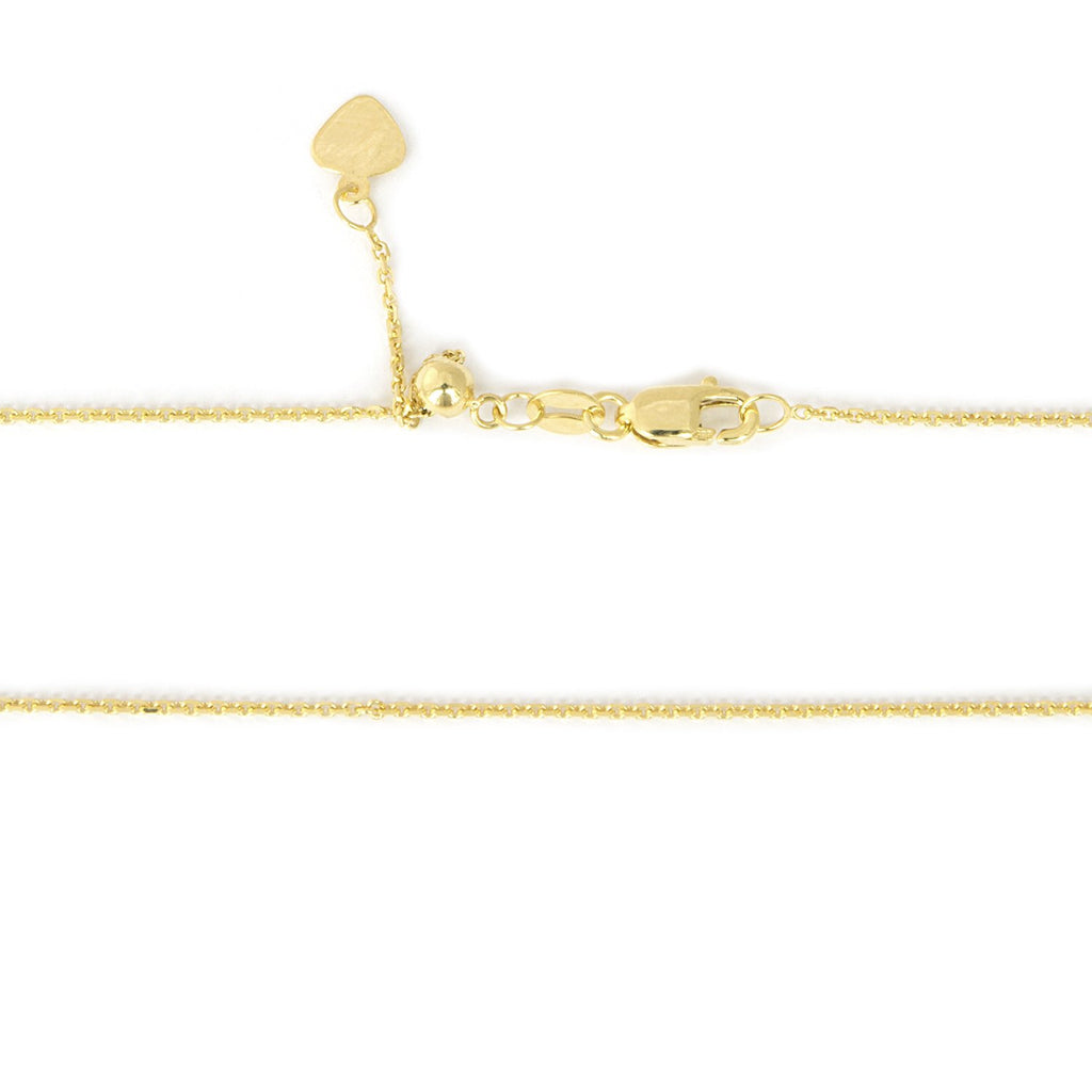 Beauniq Solid 14k Yellow, White or Rose Gold 1mm Adjustable Cable Chain Necklace, up to 22""