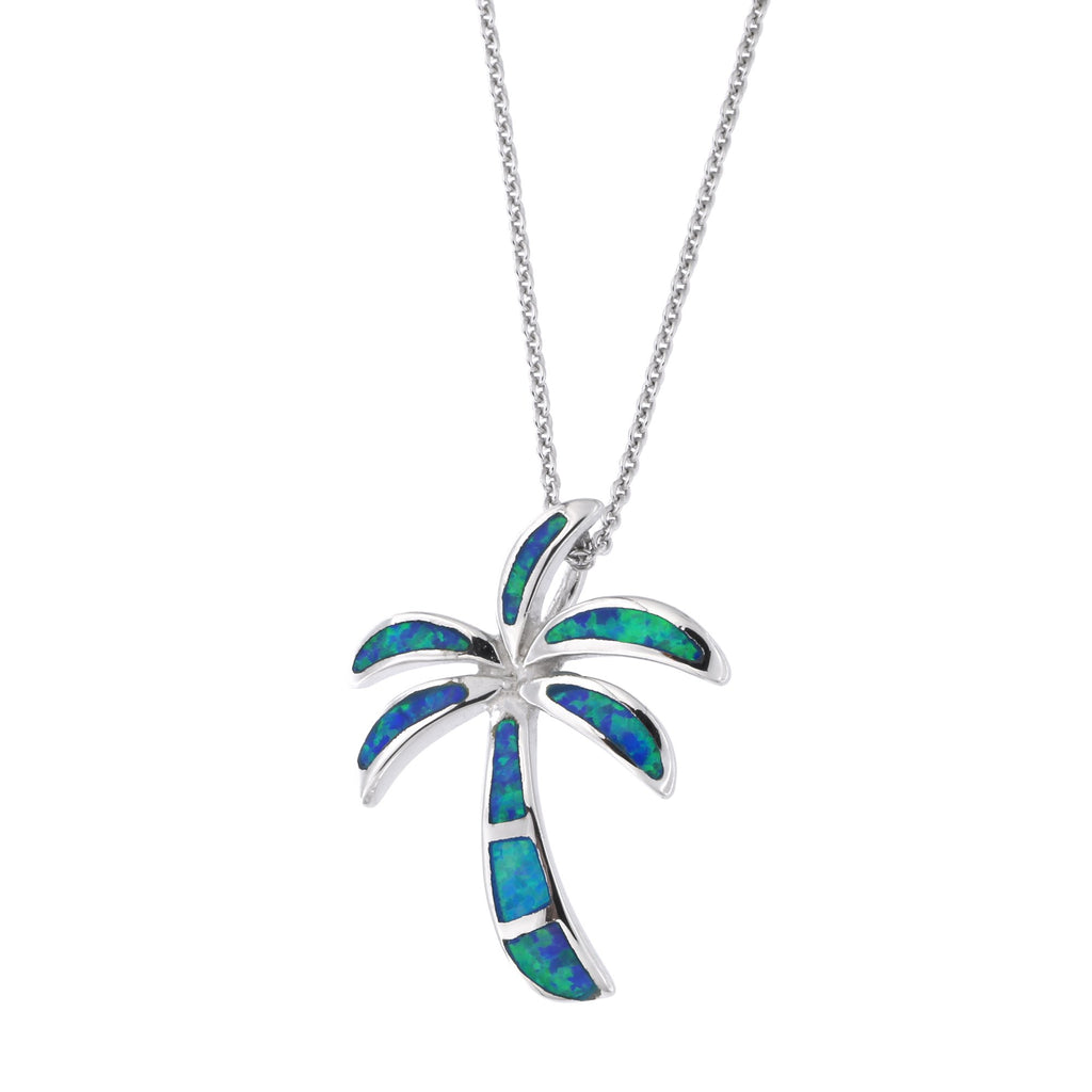 Solid Sterling Silver Rhodium Plated Simulated Blue Opal Palm Tree Pendant Necklace