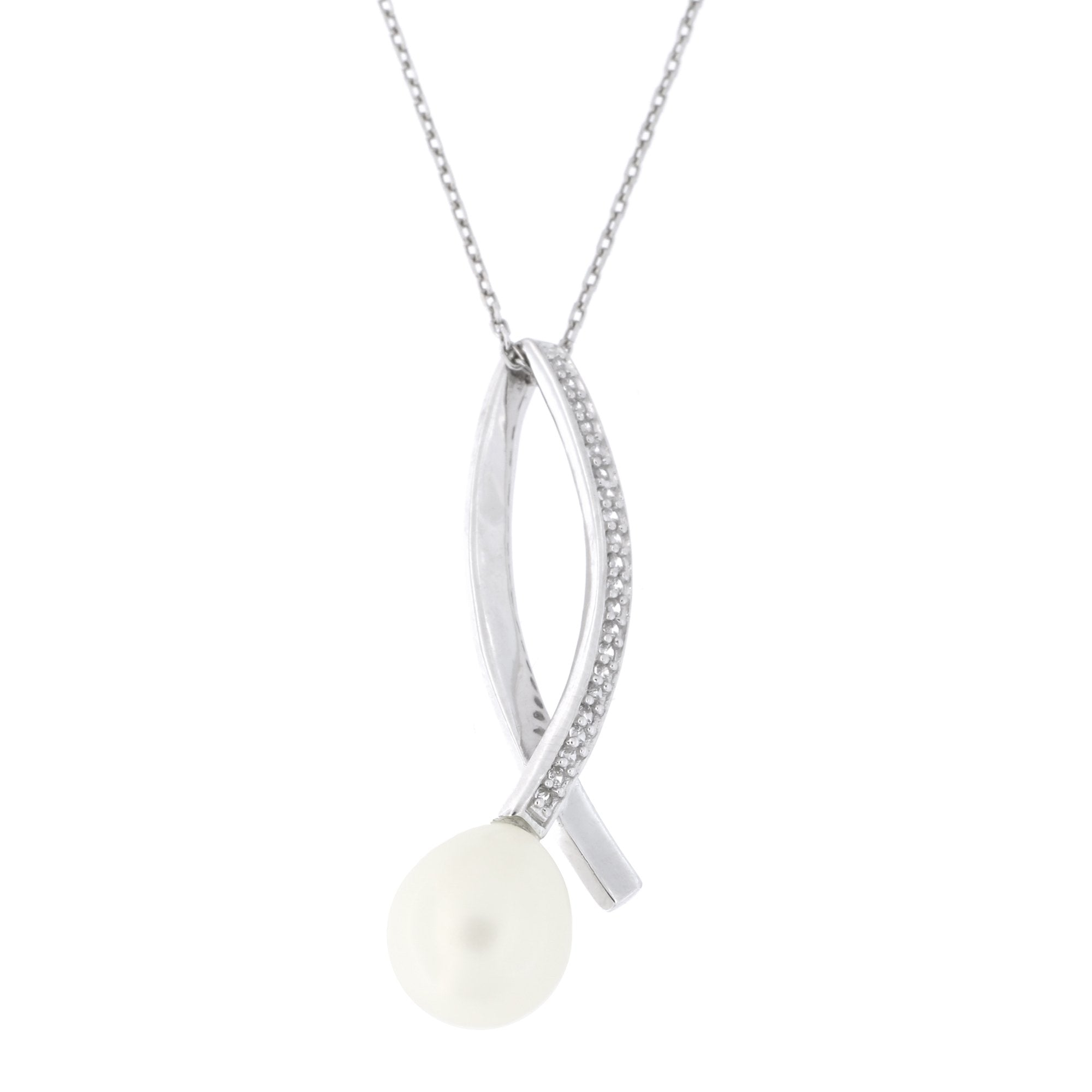 Silver Rhodium-plated Diamond and Freshwater Cultured Pearl Pendant