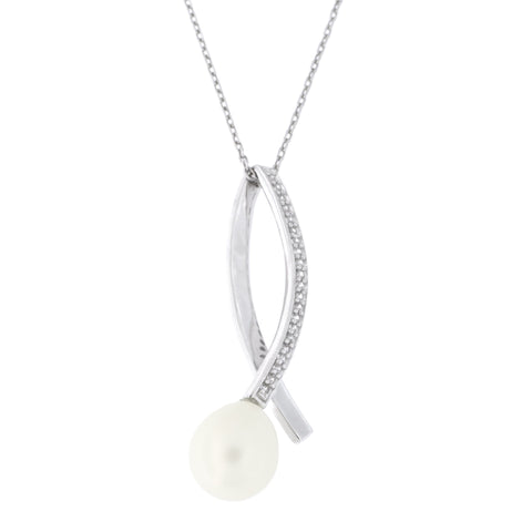 Sterling Silver Rhodium Plated Freshwater Cultured Pearl Cubic Zirconia X Criss Cross Pendant Necklace, 18 inches
