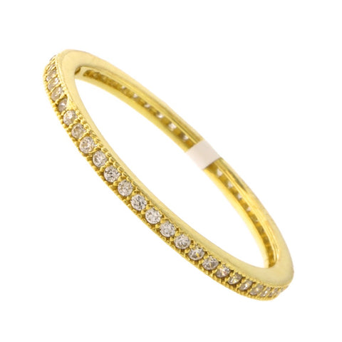 Solid Sterling Silver Gold-Tone Cubic Zirconia Thin Stacking Ring, Size 9