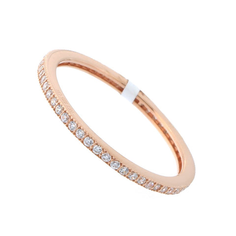 Solid Sterling Silver Rose Gold-Tone Cubic Zirconia Thin Stacking Ring, Size 7