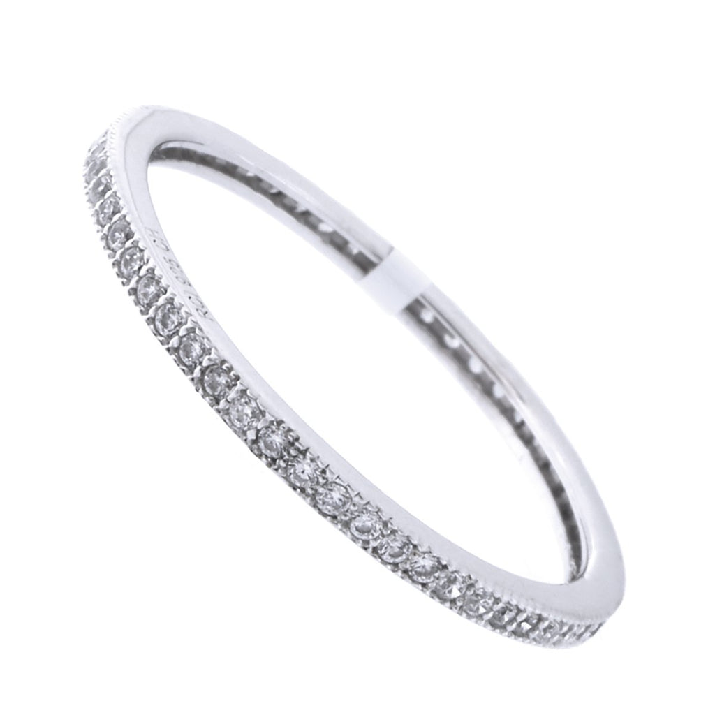 Solid Sterling Silver Rhodium Plated Cubic Zirconia Thin Stacking Ring, Size 6