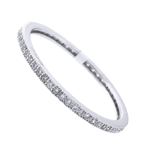 Solid Sterling Silver Rhodium Plated Cubic Zirconia Thin Stacking Ring, Size 9