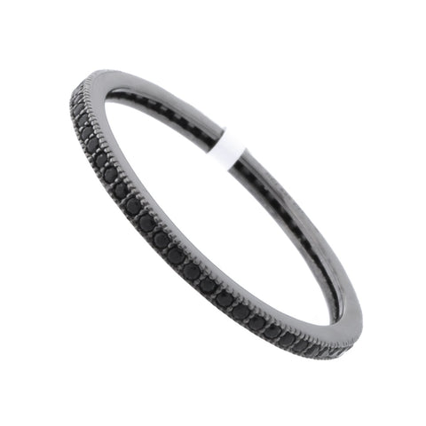 Solid Sterling Silver Black Rhodium Plated Black Cubic Zirconia Thin Stacking Ring, Size 7