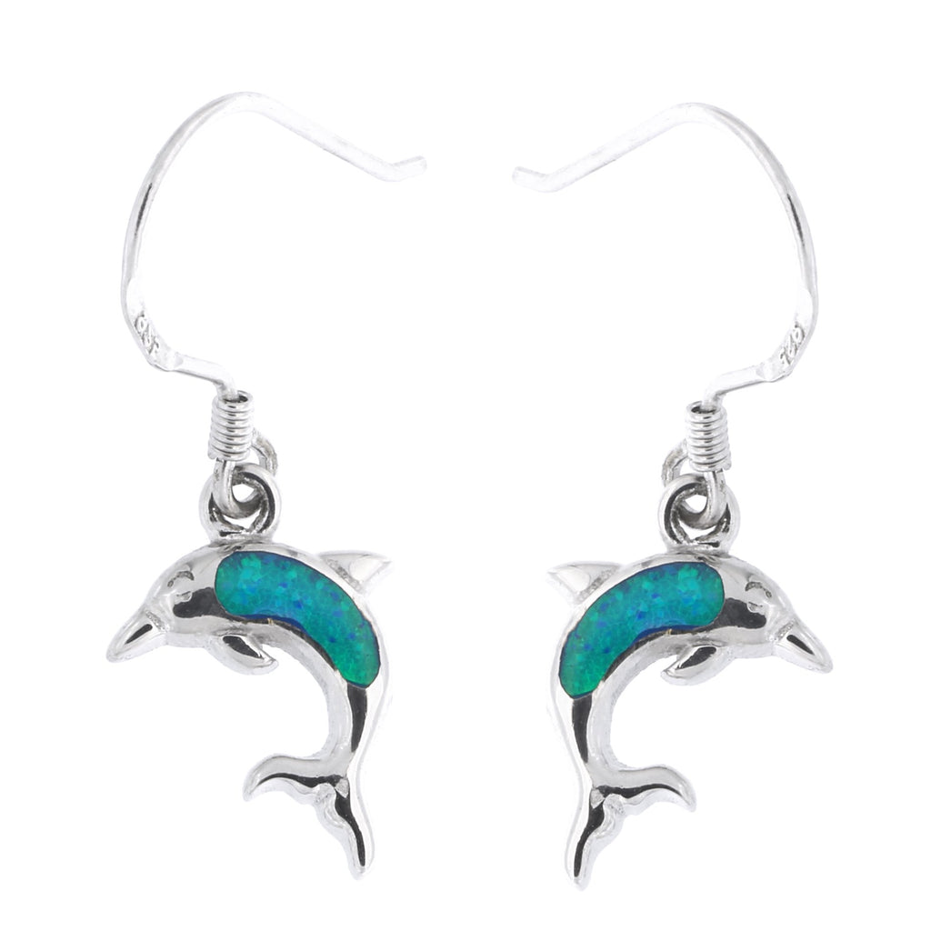 Solid Sterling Silver Rhodium Plated Simulated Blue Opal Dolphin Dangle Earrings