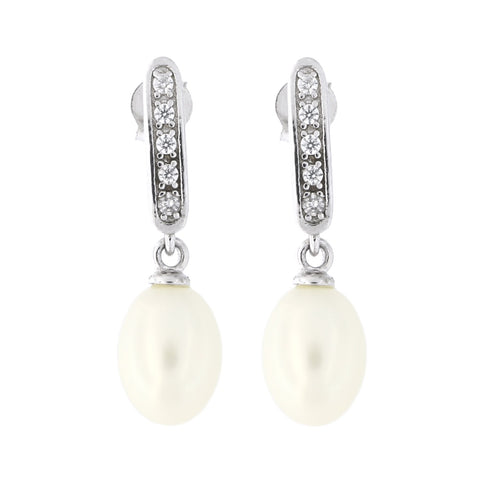 Sterling Silver Rhodium Plated Oval Freshwater Cultured Pearl with Cubic Zirconia Dangle Earrings