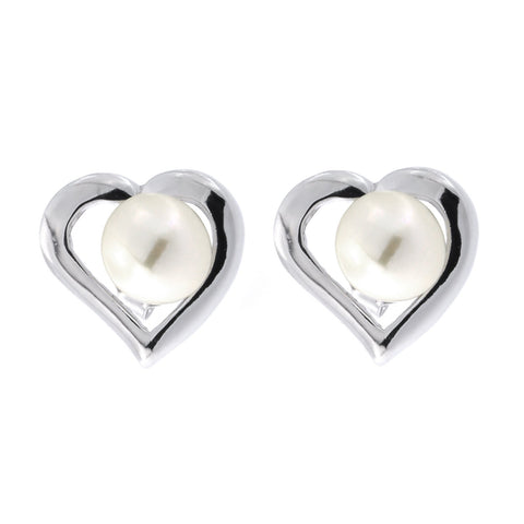 Sterling Silver Rhodium Plated Freshwater Cultured Pearl Heart Stud Earrings