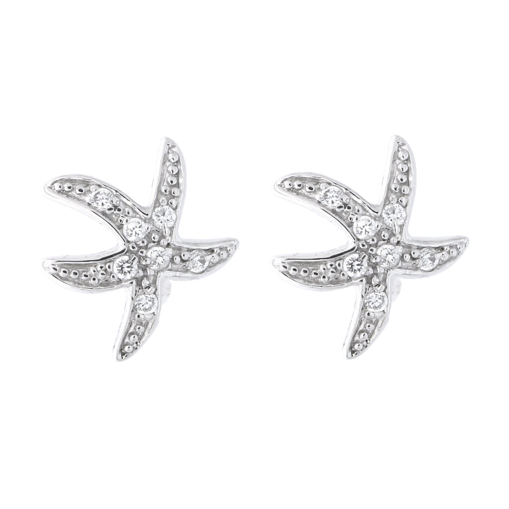 Solid Sterling Silver Rhodium Plated Cubic Zirconia Wavy Starfish Stud Earrings