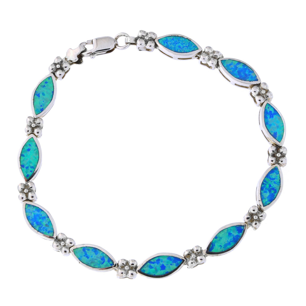 Solid Sterling Silver Rhodium Plated Diamond Shaped Simulated Blue Opal Link Bracelet, 7.25 inches