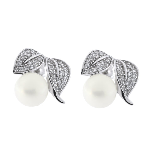 Sterling Silver Rhodium Plated Freshwater Cultured Pearl Cubic Zirconia Fruit Leaves Stud Earrings
