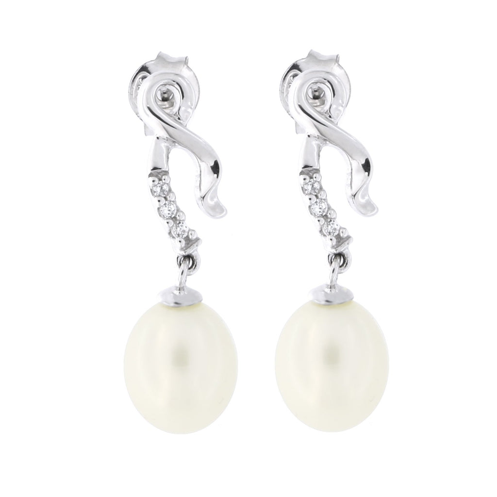 Sterling Silver Rhodium Plated Freshwater Cultured Pearl Cubic Zirconia Ribbon Style Dangle Earrings