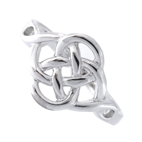 Solid Sterling Silver Rhodium Plated Celtic Knot Ring, Size 7