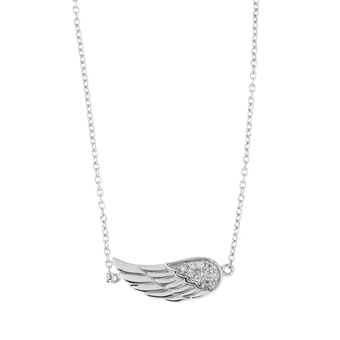Sterling Silver Rhodium Plated Cubic Zirconia Sideways Angel Wing Pendant Necklace, 18 inches