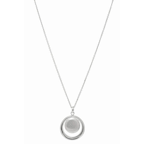 Sterling Silver Rhodium Plated or Rose Gold Tone Stardust Open Circle and Disc Pendant Necklace, 18""