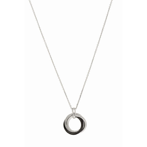Sterling Silver Rose Gold Tone or Black Rhodium Plated Stardust Interlocking Circles Necklace, 18""