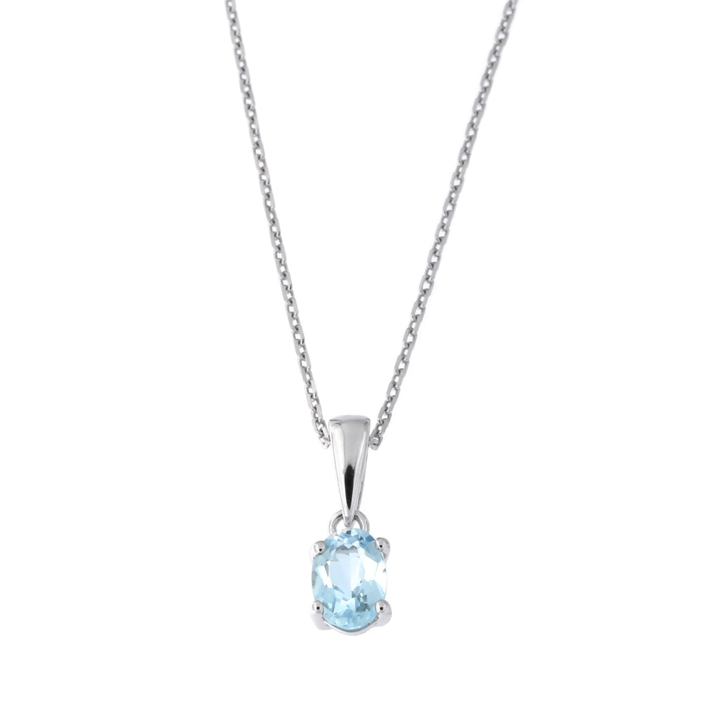 Solid Sterling Silver Rhodium Plated Blue Topaz Pendant Necklace, 18 inches