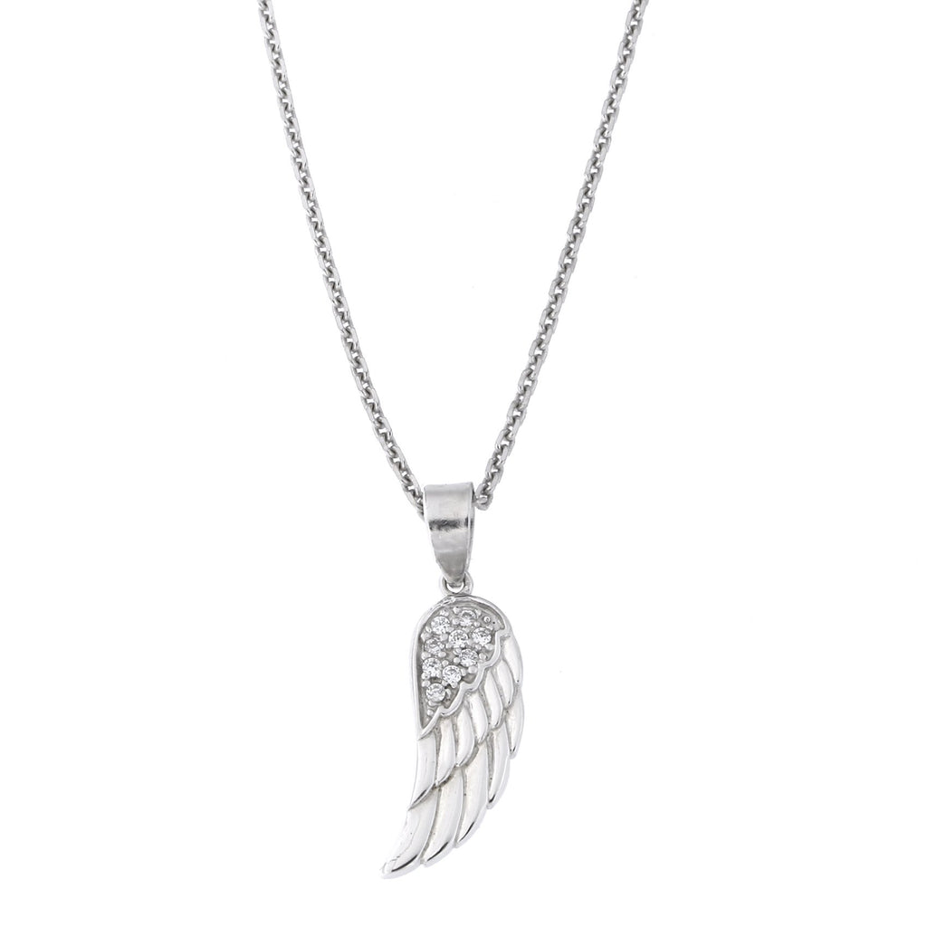 Sterling Silver Rhodium Plated Cubic Zirconia Small Angel Wing Pendant Necklace, 18 inches