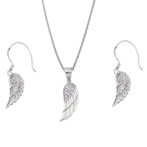 Sterling Silver Rhodium Plated Cubic Zirconia Small Angel Wing Pendant Necklace and Earrings Set