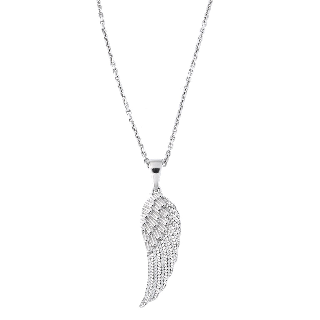 Sterling Silver Rhodium Plated Large Angel Wing Pendant Necklace, 18 inches