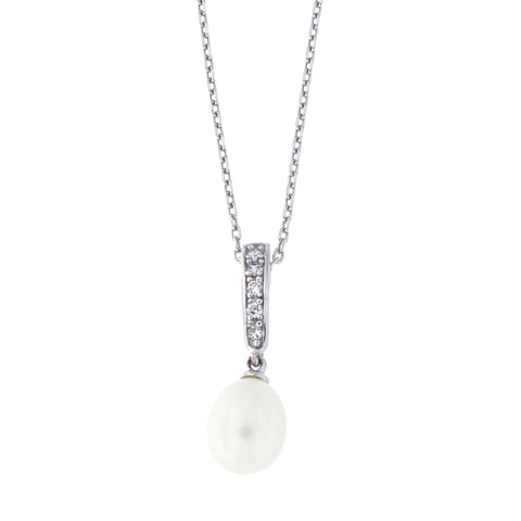 Sterling Silver Rhodium Plated Oval Freshwater Cultured Pearl with Cubic Zirconia Bale Pendant Necklace, 18""