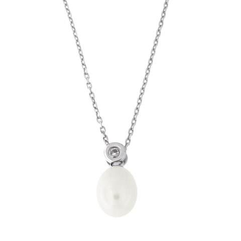 Sterling Silver Rhodium Plated Teardrop Freshwater Cultured Pearl with Cubic Zirconia Pendant Necklace, 18 inches
