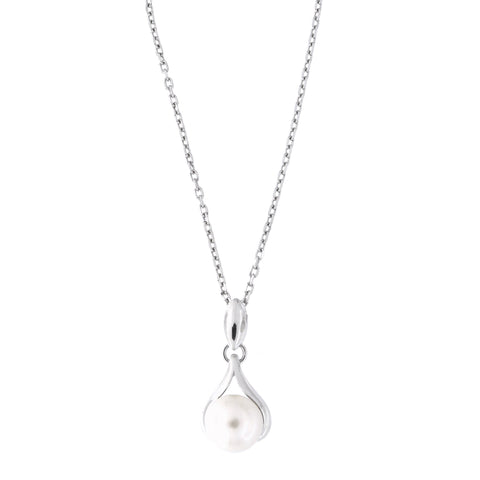 Sterling Silver Rhodium Plated Freshwater Cultured Pearl Teardrop Pendant Necklace, 18 inches