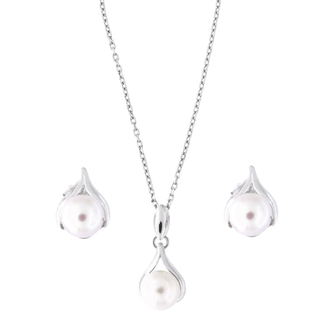 Sterling Silver Rhodium Plated Freshwater Cultured Pearl Teardrop Pendant Necklace and Earrings Set