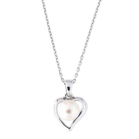 Sterling Silver Rhodium Plated Freshwater Cultured Pearl Heart Pendant Necklace, 18 inches