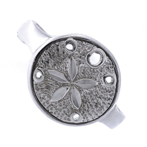 Solid Sterling Silver Rhodium Plated Sand Dollar Ring, Size 7