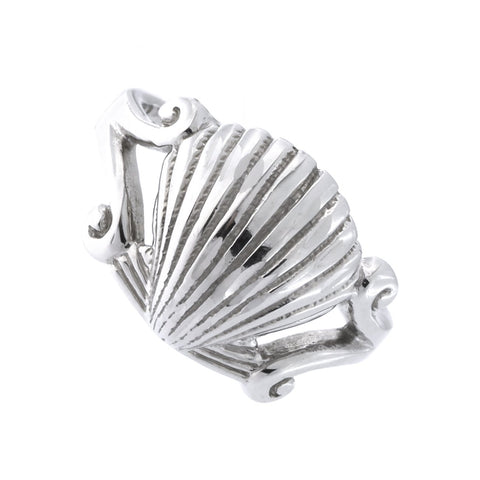 Solid Sterling Silver Rhodium Plated Seashell Ring, Size 6