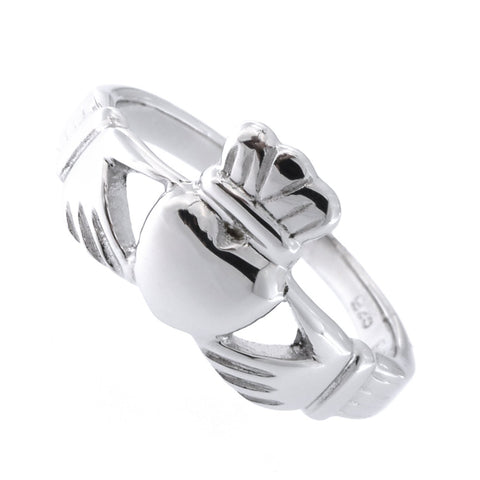 Solid Sterling Silver Rhodium Plated Claddagh Ring, Size 5