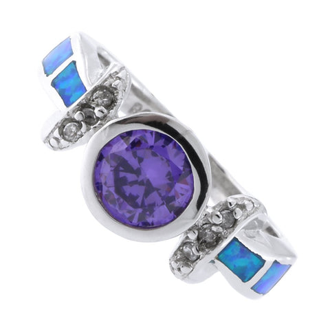 Solid Sterling Silver Rhodium Plated Bezel Set Simulated Amethyst Simulated Blue Opal Cubic Zirconia Ring, Size 6