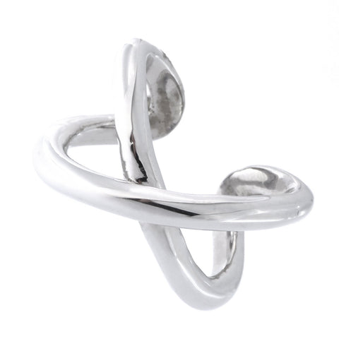 Solid Sterling Silver Rhodium Plated X Criss Cross Ring, Size 7