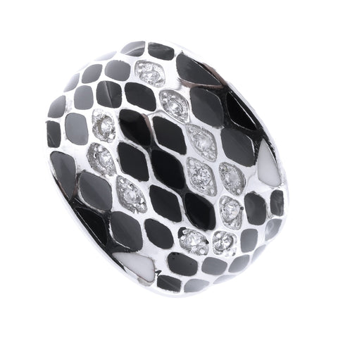 Sterling Silver Rhodium Plated Cubic Zirconia Enamel Snakeskin Pattern Dome Ring, Size 7
