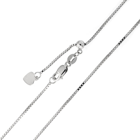 Beauniq Solid Sterling Silver Rhodium Plated 0.8mm Box Adjustable Chain Necklace, up to 22""