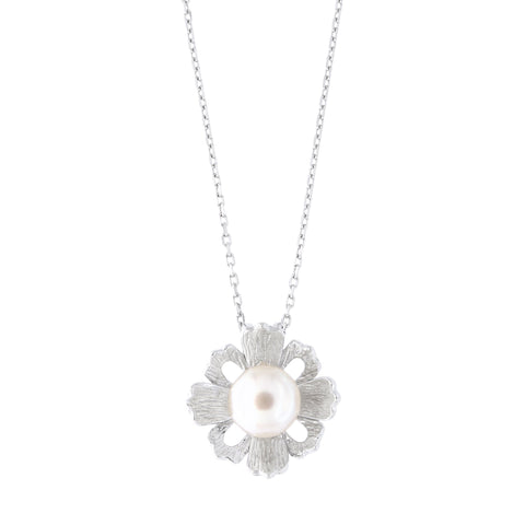 Sterling Silver Rhodium Plated Freshwater Cultured Pearl Flower Pendant Necklace, 18 inches
