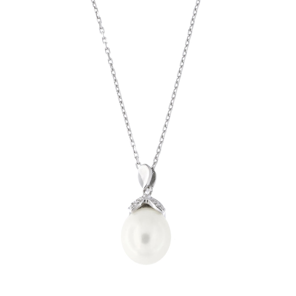 Sterling Silver Rhodium Plated Freshwater Cultured Pearl Cubic Zirconia Pointed Cap Pendant Necklace, 18 inches