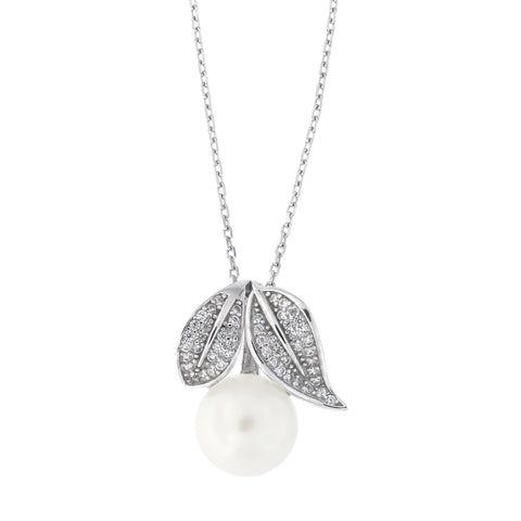 Sterling Silver Rhodium Plated Freshwater Cultured Pearl Cubic Zirconia Fruit Leaves Pendant Necklace, 18""