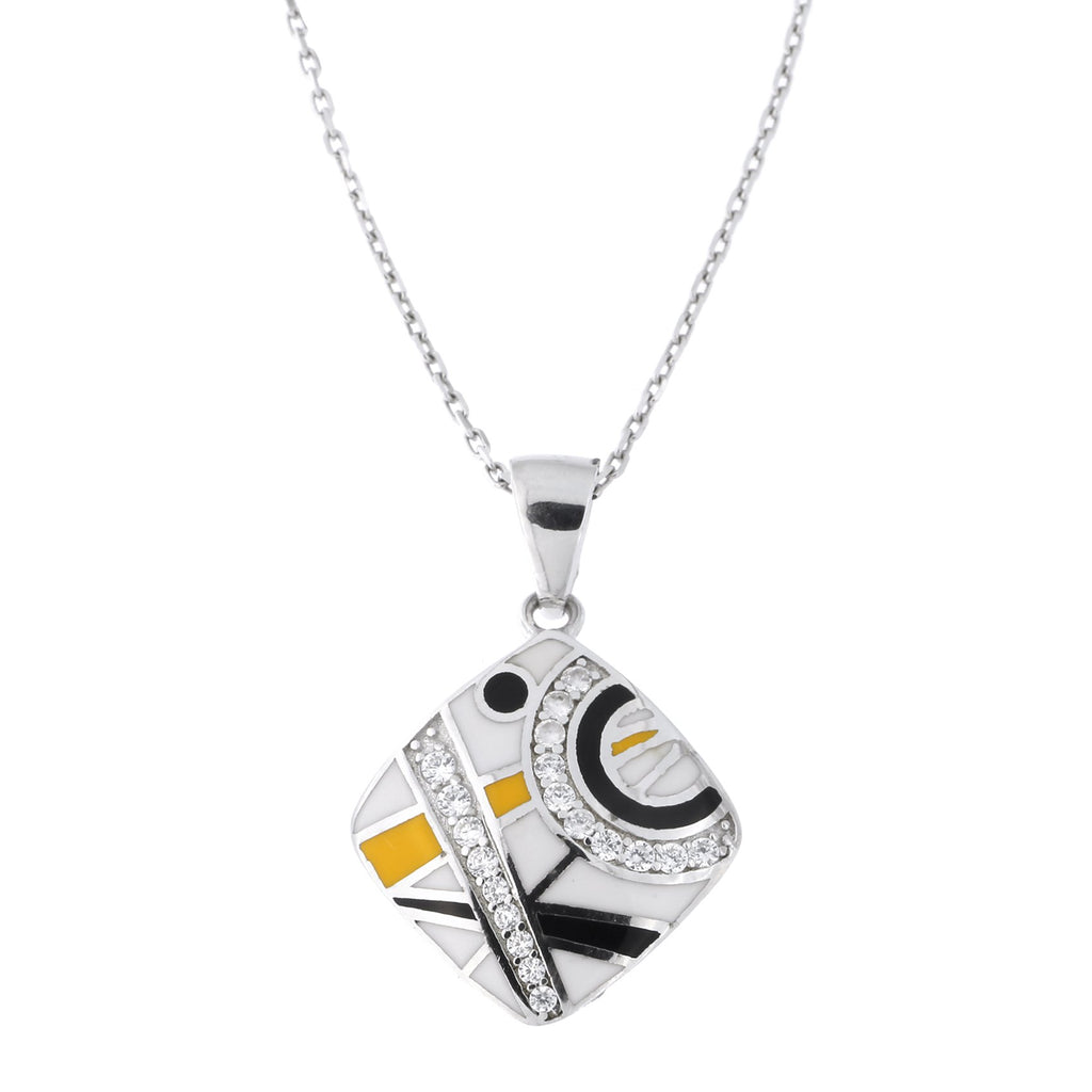 Sterling Silver Rhodium Plated Cubic Zirconia Enamel Geometric Pendant Necklace, 18 inches