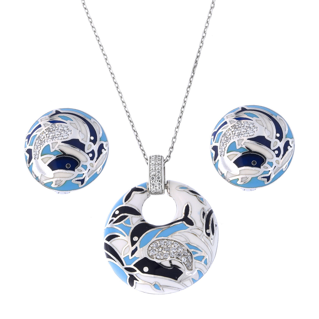 Sterling Silver Rhodium Plated Cubic Zirconia Enamel Dolphin Pendant Necklace and Earrings Set