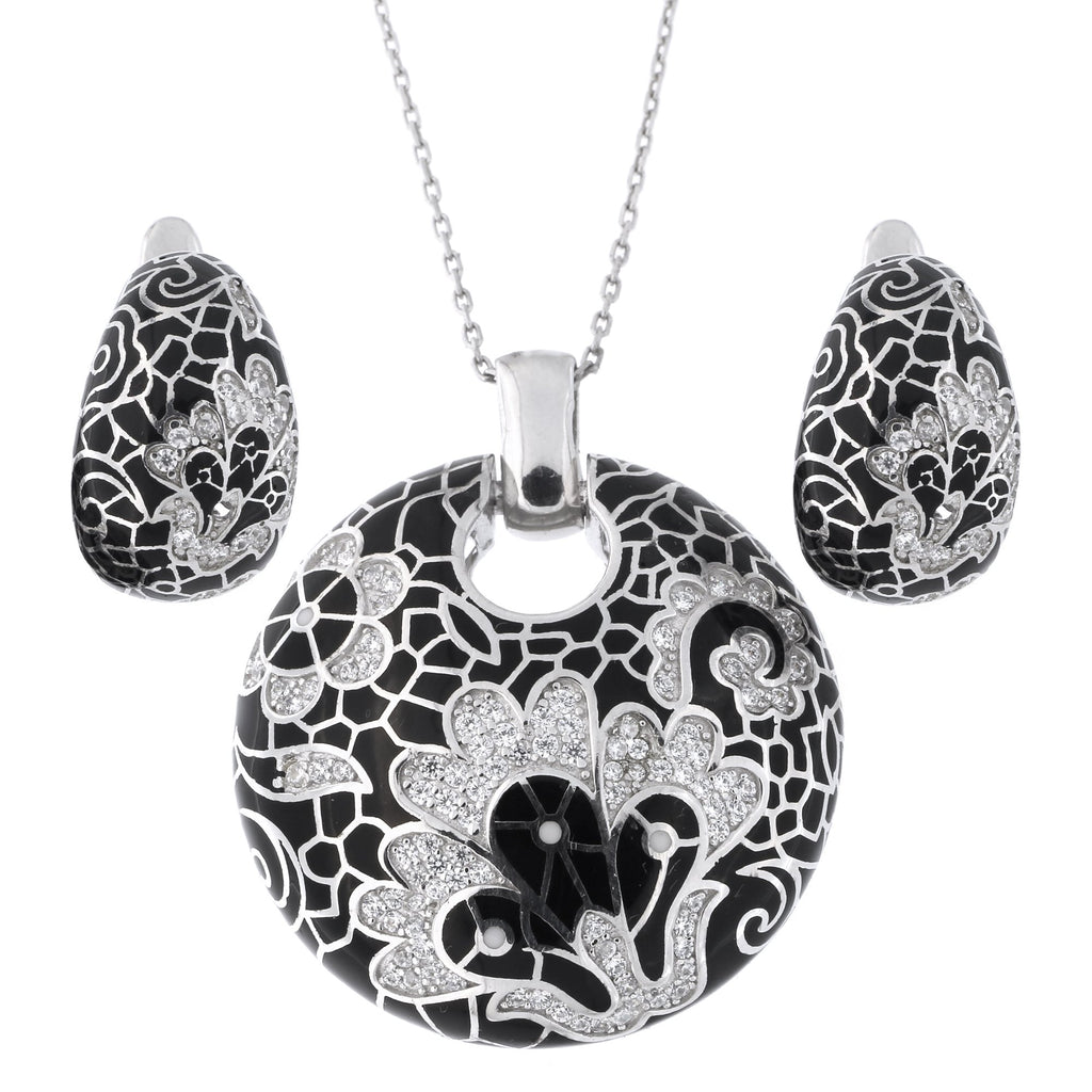 Sterling Silver Rhodium Plated Cubic Zirconia Enamel Floral Pendant Necklace and Earrings Set